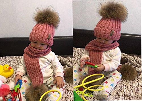 429a3b73d515f2 FURTALK Kids Hat and Scarf Set Winter Knit Beanie Pom Pom Hat Unisex Baby  Warm Chunky