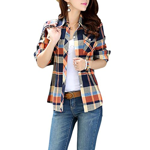 Multi Flannel Plaid - Lasher Female Cotton Casual Plaid Button-up Shirts ( Blue Yellow) US=M Tag=XL