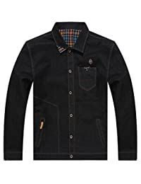 Mens Denim Long Sleeve Jacket Parka Coat Trucker Jacket Outerwear Large Size
