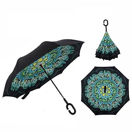 Cisixin Parapluie Inversé avec Mains Libres Poignée en Forme C, Double Couche Coupe-Vent Anti-UV Soleil, Parapluie Canne Idéal pour Voyage et Voiture (Paon) Parapluie Canne Idéal pour Voyage et Voiture (Paon)