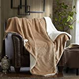 MERRYLIFE Decorative Sherpa Throw Blanket Ultra-Plush Comfort | Soft, Colorful | Home, Couch, Outdoor, Travel Use (60'' 70'', BEIGE)