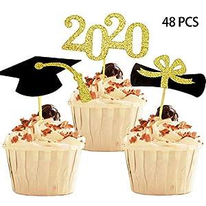 PRETYZOOM Graduation Party Cake Topper 20pcs Congrats Grad Graduation Cap Certificate 2020 Cupcake Topper Picks 2020 Graduation Cake Decoration Party Decor Supplies