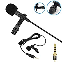 Deluxe Lavalier Lapel Clip on Omnidirectional Condenser Microphone for Apple Iphone, Ipad, Ipod Touch, Samsung Android and Windows Smartphones