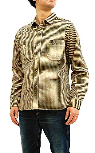 STUDIO D'ARTISAN Men's Slimmer Fit Long Sleeve Hickory Stripe Work Shirt 5617 Japan 40 (US M/UK 38/15-15 1/2) ()