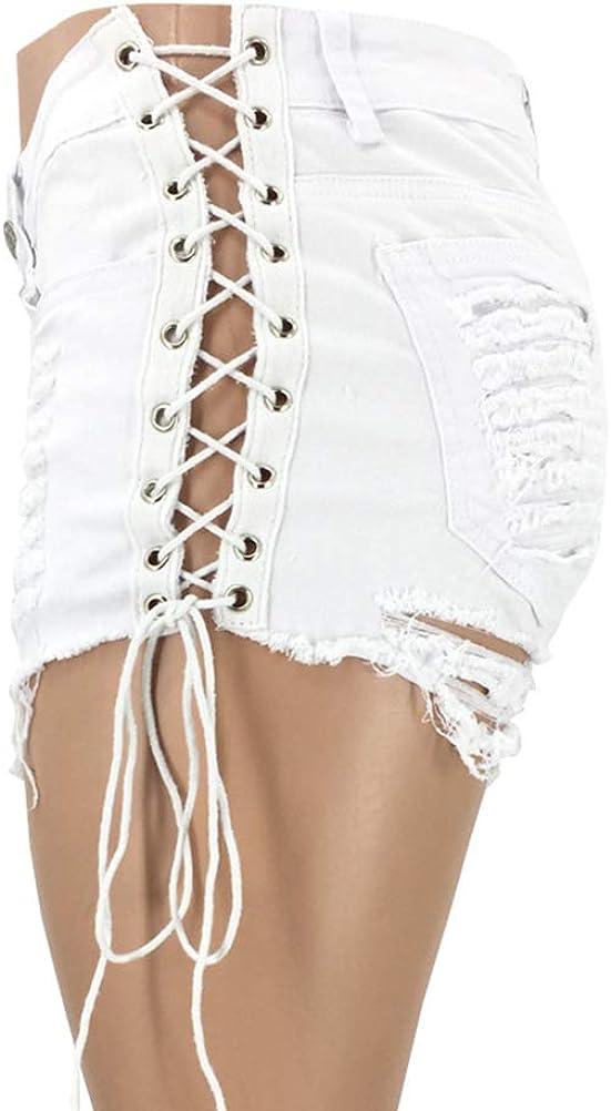 OranDesigne Damen Basic Jeansshorts High Waist Shorts Kurze Jeans Hosen Sommer