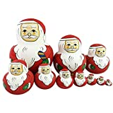Set of 10 Nesting Dolls Matryoshka Madness Russian Doll Popular Handmade Kids Girl Gifts Christmas Holiday Toy -Santa Claus