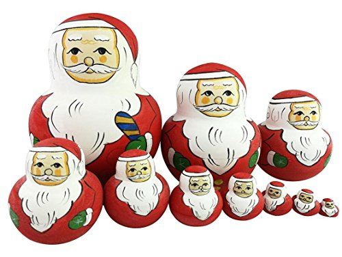 Santa Claus Christmas Doll (Cute Big Belly Shape Santa Claus With Green Gloves Handmade Wooden Russian Nesting Dolls Matryoshka Dolls Set 10 Pieces For Kids Toy Birthday Gift Christmas gift Home Christmas Holiday Decoration)