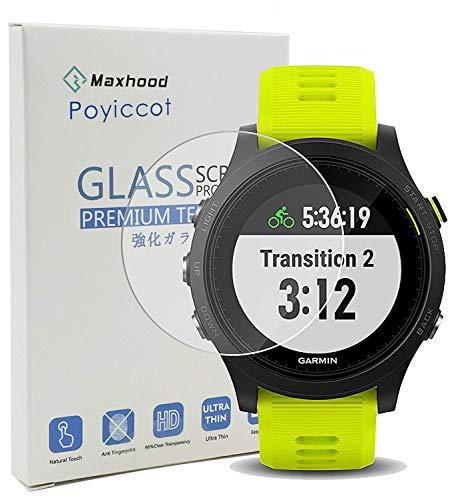 Poyiccot (1-Pack) Garmin Forerunner 935 Screen Protector Glass, 0.3mm Ultra-Thin 9H Hardness Anti-Fingerprint 2.5D Round Edge Watch Tempered Glass Screen Protector for Garmin 935