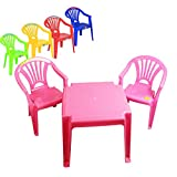 Children 2 Chairs and table Set Furniture for Boys and Girls for Activity Play and Study in Pink, Blue, Red, Yellow Green (Pink)