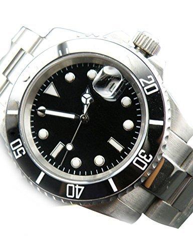 whatswatch PARNIS Submariner Bisel de cerámica de cristal de zafiro reloj automático luminoso za-228: Amazon.es: Relojes