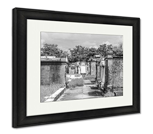 (Ashley Framed Prints Lafayette Cemetery in New Orleans with Historic Grave Stones, Wall Art Home Decoration, Black/White, 34x40 (Frame Size), Black Frame,)