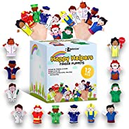 Limited Edition Happy Helpers Finger Puppets 12-Piece Set - Teach and Learn with a Variety of Neighborhood Peo