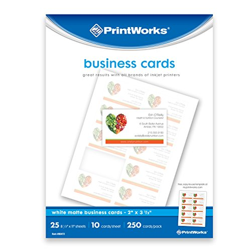 """Printworks White Matte Business Cards, For Inkjet or Laser Printers or Copiers, Card Size 2"""" x 3 ½"""", 10 Cards per Sheet, 250 Cards per Pack, (00472)"""