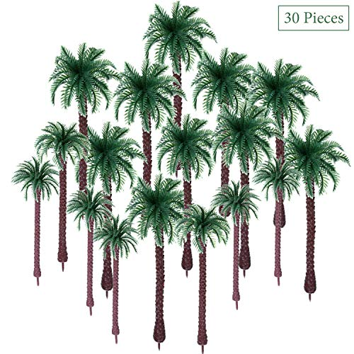 30 Pieces Model Coconut Palm Tree Scenery Model Tree Mixed Model Trees for Model Train Railway Architecture Diorama DIY Scenery Landscape (Style 2)