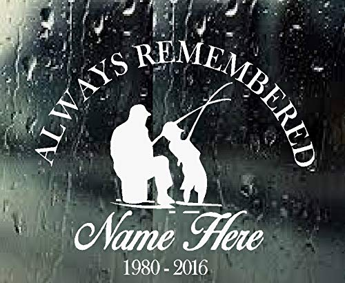 BestPricedDecals Always Remembered: Fishermen (Custom Name and Date) Memory Decal (White)