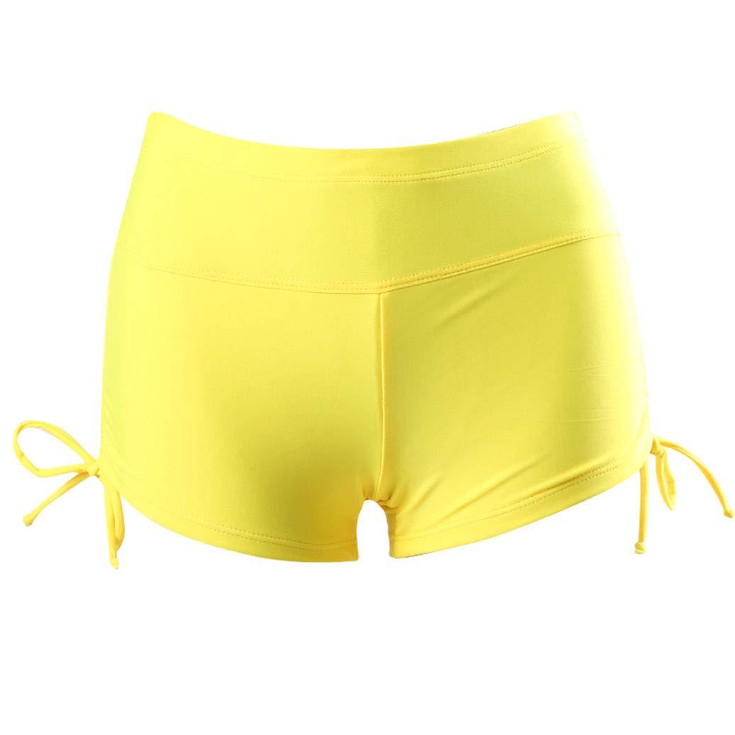 Lesimsam Womens Board Shorts Waistband Swimsuit Bottom Skinny Swim Shorts with Side Ties