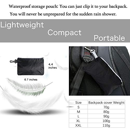 Frelaxy Backpack Rain Cover 100% Waterproof Backpack Cover, Upgraded Anti-Slip Cross Buckle Strap & Rainproof Storage Pouch & Silver Coated, for Hiking (Black, S (for 15L-25L Backpack)) by Frelaxy (Image #5)