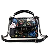 APHISON Designer Unique Embossed Floral Cowhide Leather Tote Style Ladies Special Button Handbags