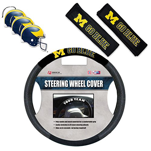 (Official National Colligate Athletic Association Fan Shop Authentic NCAA Auto Accessories Bundle - Team Steering Wheel Cover, Air Fresheners and Seat Belt Cover (Michigan Wolverines))