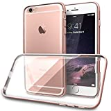 iPhone 6S Case, Rose Gold Aluminum Bumper with Slim Fit Flexible Soft Crystal Clear Cover | TORU [BX Metal] for Apple iPhone 6 and iPhone 6s - Clear/Rose Gold