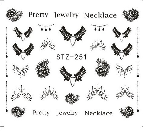 (1Pcs Gorgeous Necklace Black Red Blue Sticker Nail Art Tattoos Water Nails Designs For Nail Sticker)