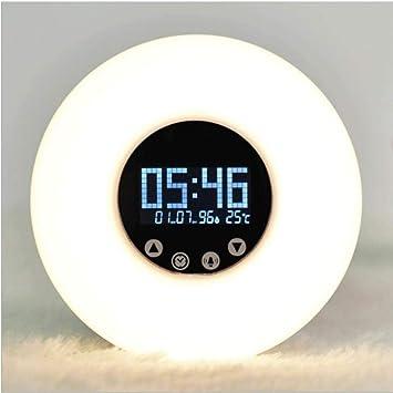 JTY Wake Up Light Despertador con Luz Despertador Reloj Digital con 6 Sonidos de la Naturaleza y Radio FM Amanecer/Crepúsculo 6 Sonidos Naturales,White: ...