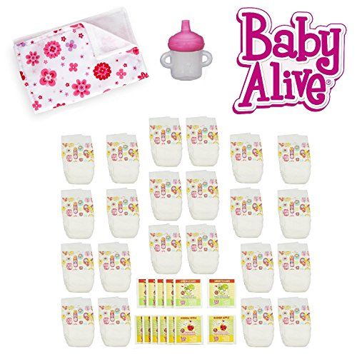 Baby Alive Doll 30pc Food & Diapers Super Pack w Bonus Sippy Cup & Burp Cloth Set (Diapers And Food For Baby Alive compare prices)
