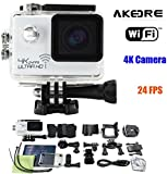 Action Cameras ,AKEDRE® 4k 24FPS Ultra HD Wifi 2.0 Inch 170°wide Angle Lens Waterproof Car DVR Sports Dv Outdoor Diving Helmet Bicycle Motorcycle Camcorder-White