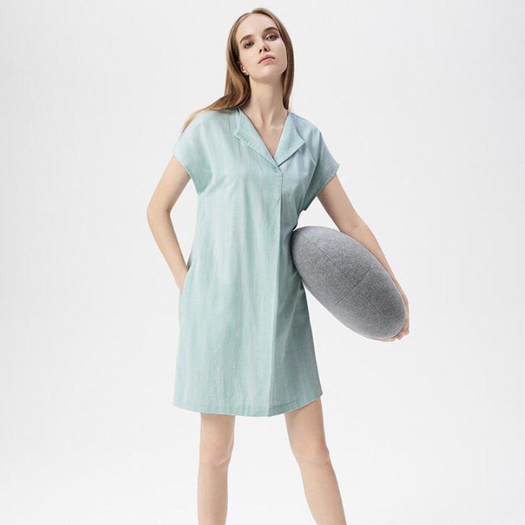 GAODUZI ワンピース夏の新しい半袖の夜間女性の夏のダブル糸のコットンパジャマ女性のルーズホームサービススリープスカート Medium Light green B07F31112W