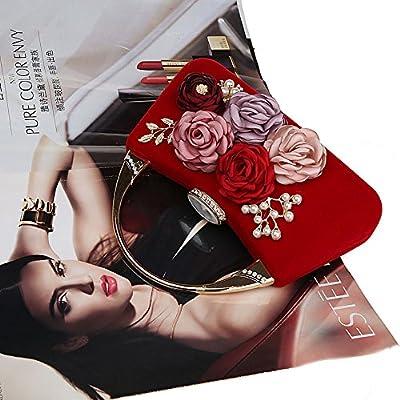 ELEOPTION Women's Flower Evening Purse Handbag Metal Frame Large Clutch Bag Wedding Handbags Carved Handle