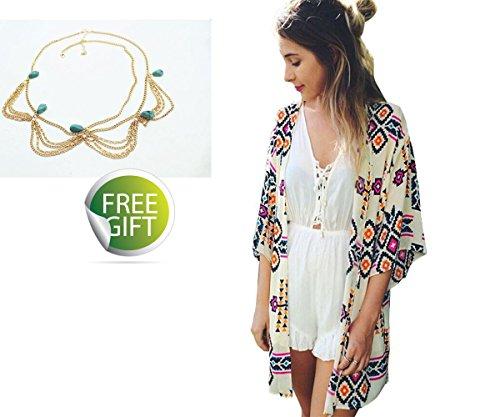 Sannysis Women Printed Chiffon Shawl Kimono Cardigan Tops Cover up Blouse