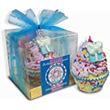 """Birthday Bath Cupcake - FREE SHIPPING - Big 4"""" Tall, 6 oz with Natural and Organic Ingredients, Fizzy Bath Bomb Scented with Vanilla Berry Cupcake"""