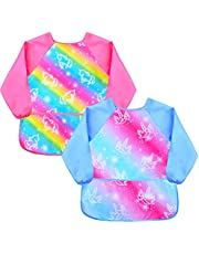 Kids Smock Apron Waterproof Art Aprons with Pocket for Painting Baking 2-7 Years