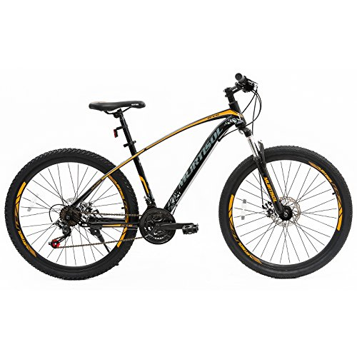 Murtisol Men's and Women's Mountain Bike 27.5'' Hybrid Bicycle with Dual Disc Brake, Commuter Bike 21 Speeds Derailleur, Designed Steel Frame, Suspension Fork, Adjustable Seat,Orange/Blue