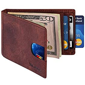 SimpacX RFID Blocking Bifold Slim Genuine Leather Thin Minimalist Front Pocket Wallets for Men Money Clip Full Grain Leather