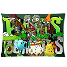 Custom Plants vs Zombies Pillowcase 20x30 two sides Zippered Rectangle PillowCases Throw Pillow Covers