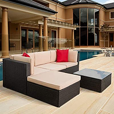 Tuoze 5 Pieces Patio Furniture Sectional Set Outdoor All-Weather PE Rattan Wicker Lawn Conversation Sets Cushioned Garden Sofa Set with Glass Coffee Table (Brown) - Solid & Durable: Outdoor patio furniture sets made of high quality PE rattan wicker which has the advantages of high tensile strength, water resistance, long service life and so on. Solid mechanical structure frames improve stability, which is strong enough to withstand all-weather. Comfortable & Convenient: The thicker sponge cushions and backrests fill with high-density foam, which provide extraordinary comfort while relaxing in your leisure time. The cushion covers are made of superior fabric, which is durable and washable. Special Design: The removable tempered glass adsorbs four suckers to enhance bearing capacity which is easy to clean, and provides much convenience. Foot screws keep the sofas more stable, and which have a super wear resistance. - patio-furniture, patio, conversation-sets - 51qItvRT8JL. SS400  -
