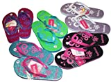 Dona Michi Leather Kid's Flip Flop with Butterfly Print and Decorated Black