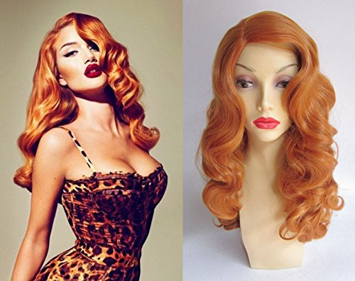 [Deluxe Bombshell Pin Up Jessica Rabbit Style Curly Orange Heat Resistant Wig] (Jessica Rabbit Wig)