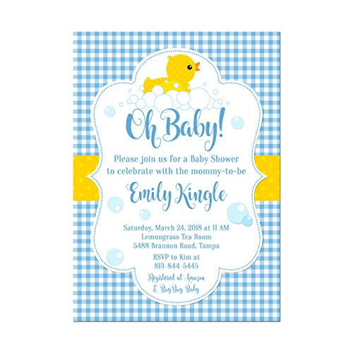 Rubber Duck Baby Shower Invitation in Blue Pink or Green Gingham, Base price is for a set of 10 5x7 inch card stock invitations with white envelopes ()