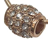 Charm, European Style Rose Gold Plated Rhinestone Barrel + FREE GIFT BAG