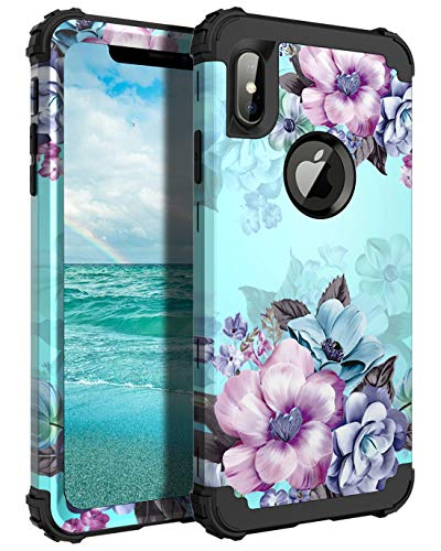 Casetego Compatible iPhone Xs Max Case,Floral Three Layer Heavy Duty Hybrid Sturdy Armor Shockproof Protective Cover Case for Apple iPhone Xs Max 6.5,Blue Flower