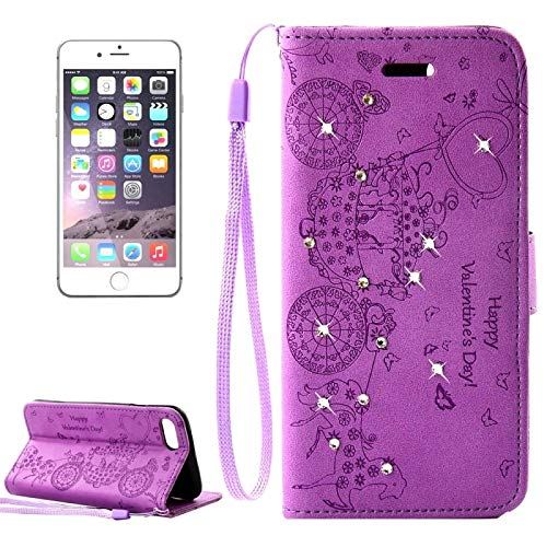 (#52) For compatible with : iPhone 8 Plus & 7 Plus Flower Butterfly Carriage Pattern Diamond Encrusted Horizontal Flip Leather Case (Purple) ()