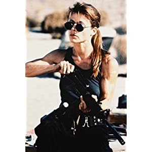 Linda Hamilton Terminator 2 24x36 Poster iconic in vest & sunglasses loading rifle