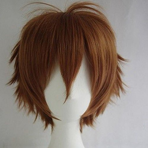 Short Brown Wig (Unisex Women Short Curly Straight Cosplay Wig Anime Hair Tail Full Wigs Heat Resistant Synthetic Wig Wigs Japanese Kanekalon Fiber 20 Colors Full Wig for Women Lady Fashion and Beauty (light brown))