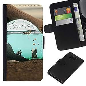 JackGot ( Lindo surrealista Submarino Panda ) Samsung ALPHA G850 la tarjeta de Crédito Slots PU Funda de cuero Monedero caso cubierta de piel