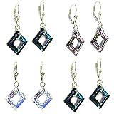 Swarovski Elements Crystal Square Sterling Silver Leverback Dangle Earrings (1.5 in)