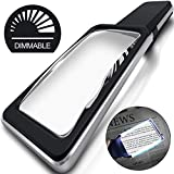 MagniPros 3X(300%) Magnifying Glass with [10 Anti-Glare & Fully Dimmable LEDs]-Evenly Lit Viewing Area-The Brightest & Best Reading Magnifier for Small Prints, Low Vision Seniors, Macular Degeneration