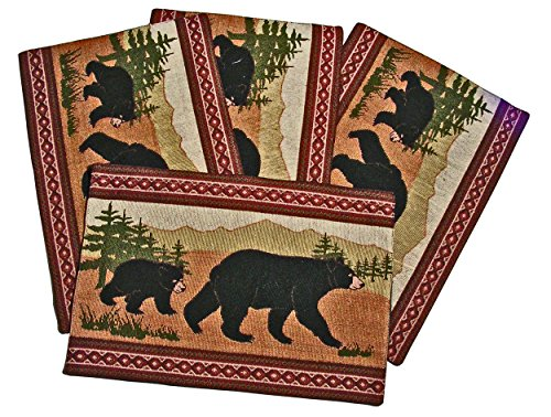 Black Bear Southwestern Design Placemats, Set of 4, 13x19 inches (Table Bear Runner)