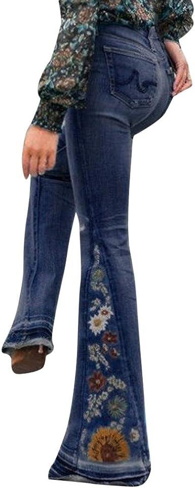 Moda Pantalones Acampanado Para Mujer Ajustados Con Bordado Jeans Pantalones Anchos Casual Elegante Pantalones De Mezclilla Amazon Es Ropa Y Accesorios